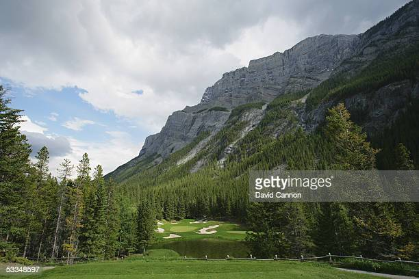The 199 yard par 3 4th hole 'The Devil's Cauldron' on the Stanley Thompson Eighteen Course at The Fairmont Banff Springs Resort on June 24 2005 in...