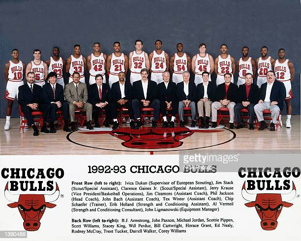 The 199293 NBA Chicago Bulls pose for a team portrait in Chicago IL Front row Ivica Dukan Jim Stack Clarence Gaines Jr Jerry Krause Jim Cleamons Phil...