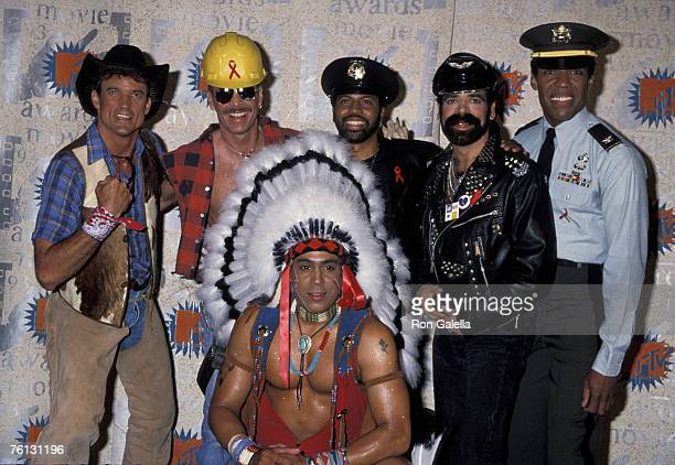 The 1993 lineup of American disco group Village People with new lead singer Ray Simpson at the Disney Studios in Burbank California