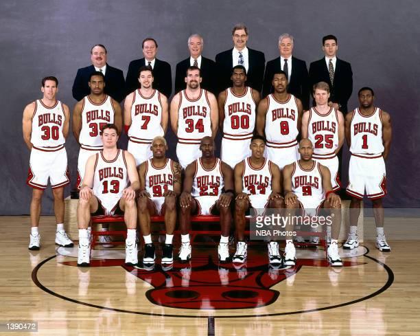 The 199697 NBA Chicago Bulls pose for a team portrait in Chicago IL Front row Luc longley Dennis Rodman Michael Jordan Scottie Pippen Ron Harper...