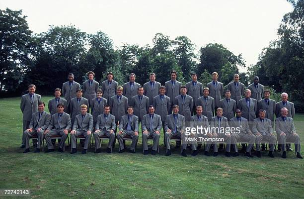 The 1998 England World Cup sqaud including players the medical team and back room staff wearing Paul Smith suits for the official photograph at...