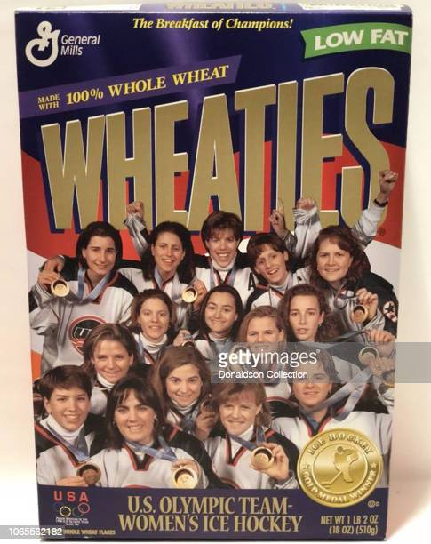 The 1998 gold medal winning US Women's Olympic Hockey team poses for a portrait on a Wheaties cereal box in 1998