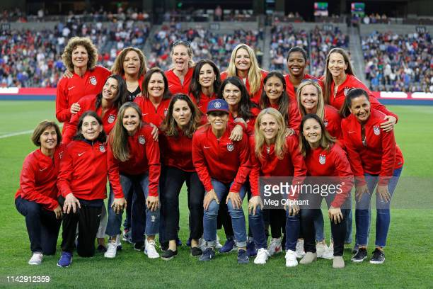 The 1999 FIFA World Cup champions of the United States Women's National Team makes a halftime appearance during the game against Belgium at Banc of...