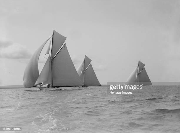 The 19metre class 'Maraquita' 'Corona' 'Octavia' racing downwind in the Solent 1912 Artist Kirk Sons of Cowes