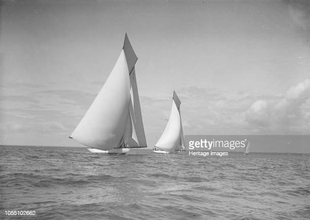 The 19metre class 'Mariquita' 'Corona' race downwind under spinnaker 1911 Both yachts were designed by William Fife III Artist Kirk Sons of Cowes