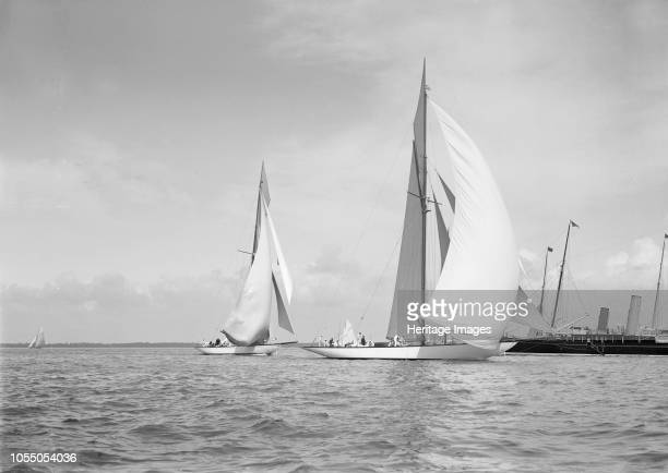 The 19metre class 'Mariquita' 'Corona' running with spinnakers up 1911 Both yachts were designed by William Fife III Artist Kirk Sons of Cowes