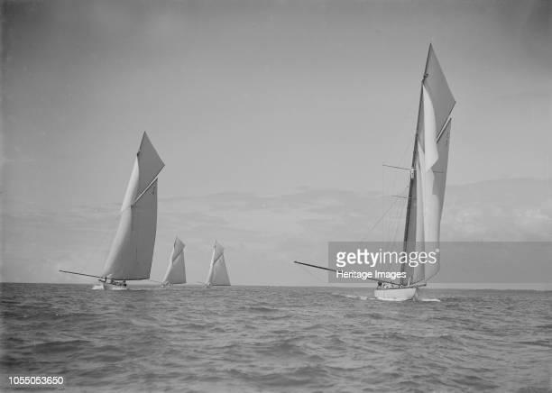 The 19metres class 'Octavia' 'Norada' 'Corona' 'Mariquita' racing at Cowes 1911 These are the four British built 19metre class yachts Artist Kirk...