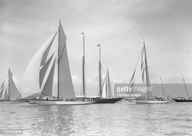 The 19metres class 'Octavia' 'Norada' 'Corona' 'Mariquita' racing downwind at Cowes 1911 These are the four British built 19metre class yachts Artist...