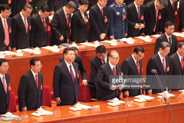 The 19th National Congress of the Communist Party of China opens at the Great Hall of the People in Beijing. Picture shows Zhang Dejiang, Hu Jintao,...