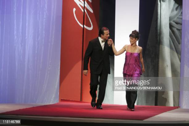 The 19th night of the Molieres at the Mogador Theatre in Paris France on May 09 2005 Roland Giraud and Romane Bohringer