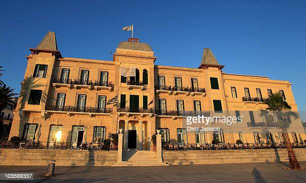 The 19th-century Poseidon Hotel is seen in the morning light on the island of Spetses on August 24, 2010 in Spetses, Greece. The small Greek Island,...