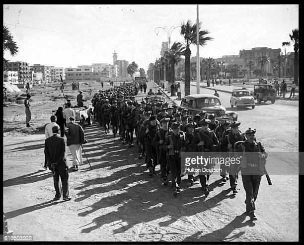 The 1st Battalion of the Royal Scots march into Port Said during the Suez Crisis of 1956.