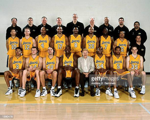 The 200001 NBA Los Angeles Lakers pose for a team portrait in Los Angeles CA Front row Devean George Stanislav Medvedenko Greg Foster Shaquille...