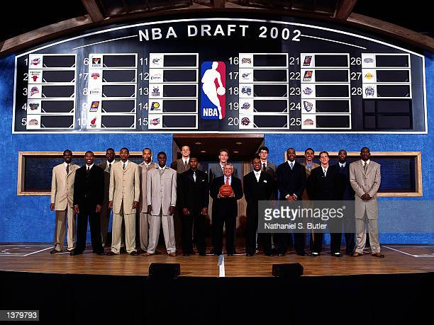 The 2002 NBA Draft class pose for a portrait during the 2002 NBA Draft at The Theater At Madison Square Garden on June 26 2002 in New York City New...