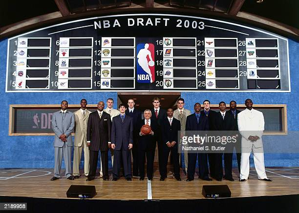 The 2003 NBA Top Draft group stand in for a portrait with Commissioner David Stern on draft night on June 26 2003 at Madison Square Garden in New...
