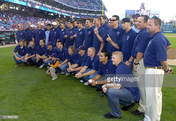The 2004 NCAA Champion Cal State Fullerton baseball team was honored by the Anaheim Angels before interleague game at Angel Stadium on Saturday July...