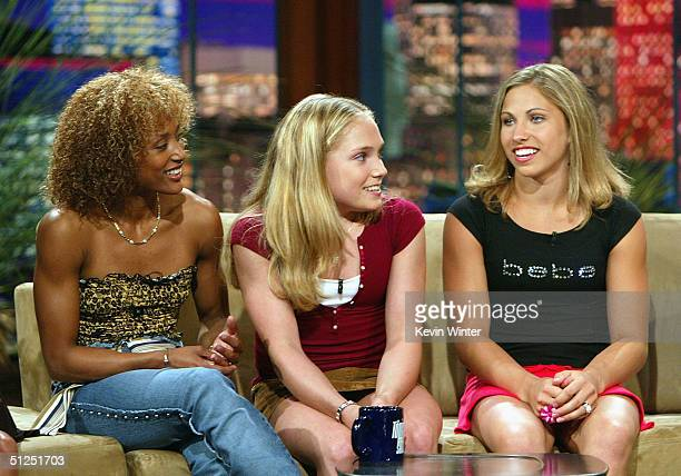 The 2004 US Olympic Women's Gymnastic Team members Annia Hatch Courtney McCool and Courtney Kupets appear on The Tonight Show with Jay Leno at the...