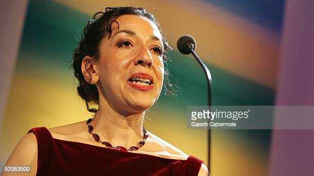 The 2004 Whitbread Book Of The Year winner Andrea Levy makes her winners speech at The Brewery on January 25 2005 in London The annual awards has...