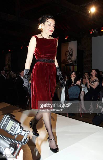 The 2004 Whitbread Book Of The Year winner Andrea Levy makes her way to the stage to pose for photographs at the The Brewery on January 25 2005 in...