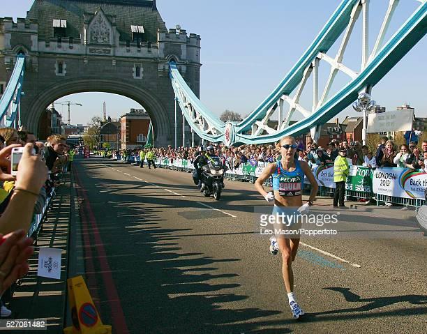 The 2005 Flora London Marathon Paula Radcliffe crossing Tower Bridge