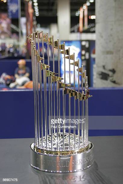 The 2005 World Series Trophy is on display at the John Hancock Major League Baseball All-Star Fan Fest at the COBO Center on July 9, 2005 in Detroit,...