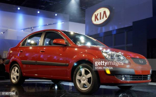The 2006 Kia Rio sedan makes its world premiere 11 January 2005 at the North American International Auto Show at Cobo Hall in Detroit MI AFP...