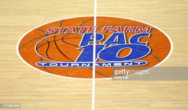The 2006 State Farm Pacific10 Conference Women's Basketball Tournament logo at midcourt of the HP Pavilion in San Jose Calif