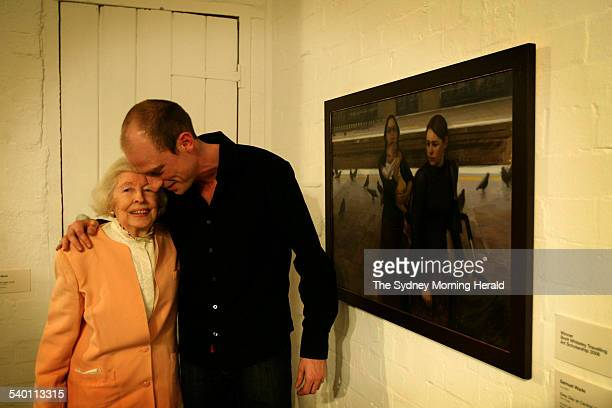 The 2006 Winner of the Brett Whiteley Travelling Art Scholarship Samuel Wade with Beryl Whiteley and his work 'Grey Day at Central' 21 September 2006...