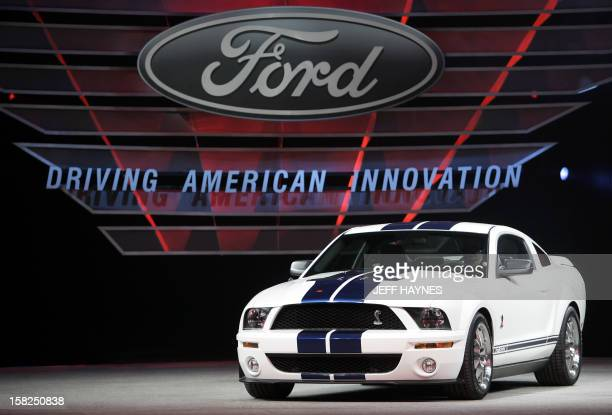 The 2007 Ford Shelby GT500 on display 08 January 2006 during the press days at the North American International Auto Show at Cobo Hall in Detroit...