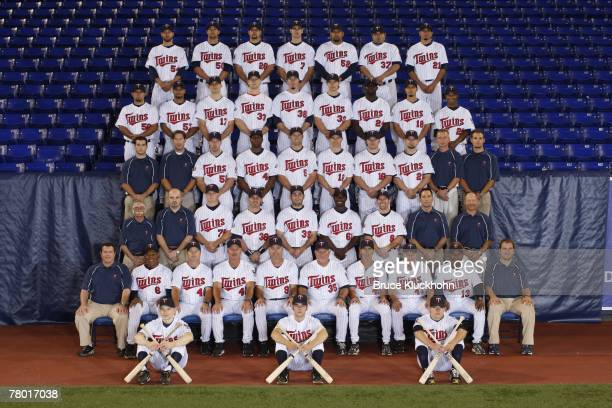 The 2007 Minnesota Twins pose for a team photo at the Humphrey Metrodome in Minneapolis Minnesota on August 21 2007 The team Front Row Ball boys Ryan...