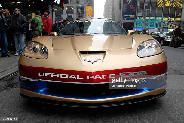The 2008 Chevrolet Corvette Z06 Pace Car for the 2008 Daytona 500 is parked outside the Good Morning America studios for an appearance with defending...