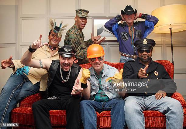 The 2008 lineup of American disco group Village People Felipe Rose Eric Anzalone Alex Briley David Hodo Jeff Olson and Ray Simpson pose during a...