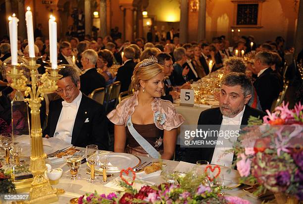 The 2008 Nobel laureate of Economy Paul Krugman speaks with Princess Madeleine during the Banquet at the cityHall of Stockholm December 10 2008 AFP...