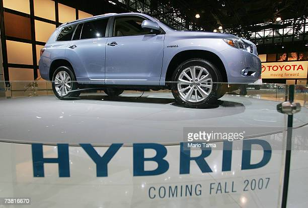 The 2008 Toyota Highlander Hybrid is displayed at the New York International Auto Show April 5 2007 in New York City The show opens to the public...