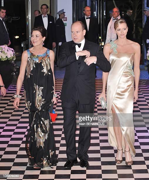 The 2010 Rose Ball ' Bal de la Rose Morocco' with Prince Albert of Monaco Charlene Wittstock Caroline of Hanover Andrea Charlotte and Pierre...
