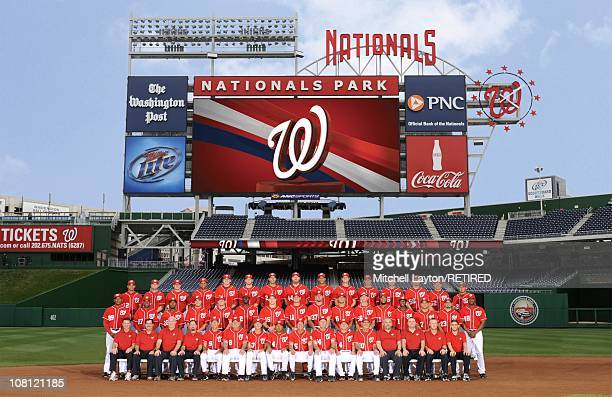 The 2010 Washington Nationals pose for a team photo at Nationals Park in Washington DC on August 13 2010 Top row Alberto Gonzalez Adam Kennedy Jason...