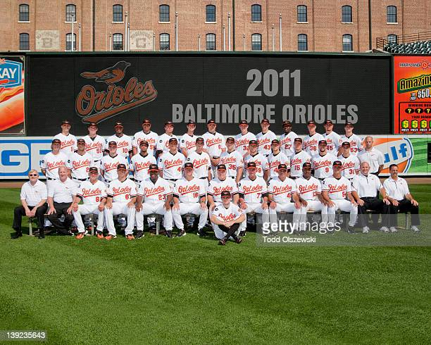 The 2011 Baltimore Orioles pose for their team photo on August 31 2011 at Oriole Park at Camden Yards in Baltimore Maryland