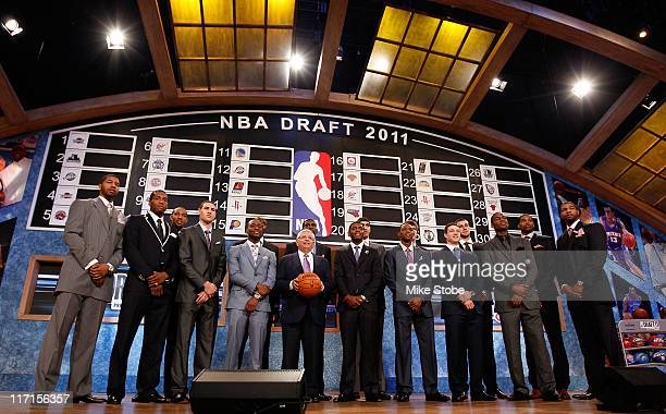 The 2011 Draft class including Kyrie Irving Derrick Williams Enes Kanter Jonas Valanciunas Brandon Knight Jimmer Fredette and Kemba Walker pose for a...