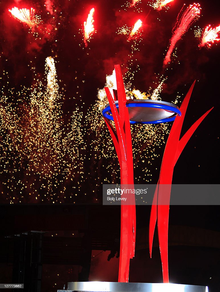 The 2011 Senior Games Cauldron Is Lit As Fireworks Light Up The Night Sky At  Discovery
