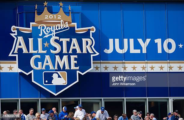 The 2012 AllStar Game logo as seen in left field of Kauffman Stadium at the opening day game between the Kansas city Royals and the Cleveland Indians...