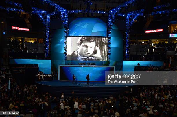 The 2012 Democratic National Convention features a video tribute in memory of Massachusetts US Sen Ted Kennedy at the Time Warner Cable Center on...
