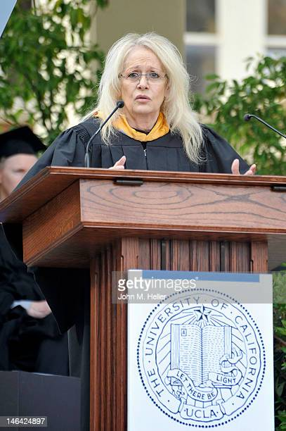 The 2012 Distinguished Alumni Award Honoree director Penelope Spheeris talks to the students at the Commencement for The School of Theater Film...