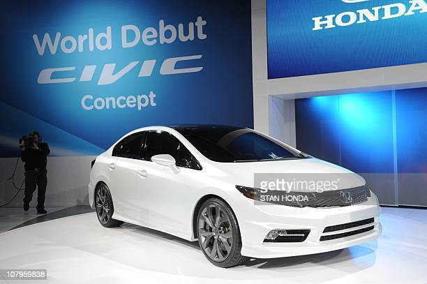 The 2012 Honda Civic concept car is viewed during the first press preview day at the 2011 North American International Auto Show January 10, 2011 in...
