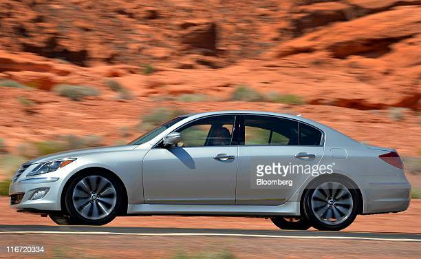 The 2012 Hyundai Motor Co Genesis luxury sedan is seen during a media test drive in Las Vegas Nevada US Thursday June 16 2011 Hyundai Motor Co South...