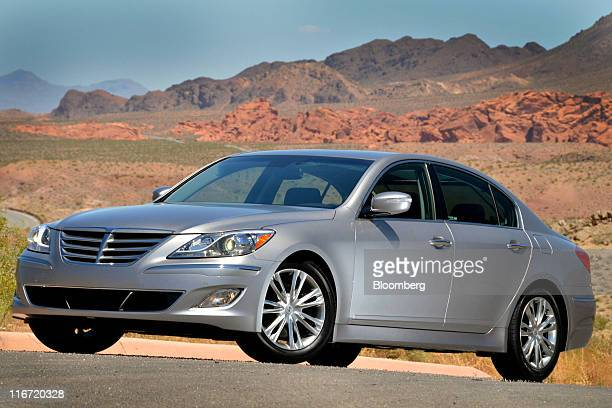 The 2012 Hyundai Motor Co Genesis luxury sedan stands after a media test drive in Las Vegas Nevada US Thursday June 16 2011 Hyundai Motor Co South...