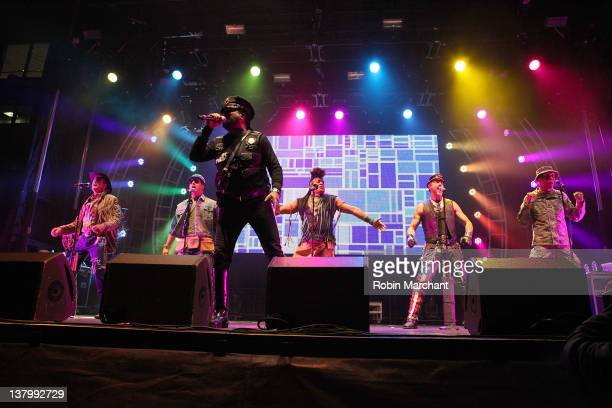 The 2012 lineup of disco group Village People Jeff Olson David Hodo Ray Simpson Felipe Rose Eric Anzalone and Alexander Briley perform during day 4...