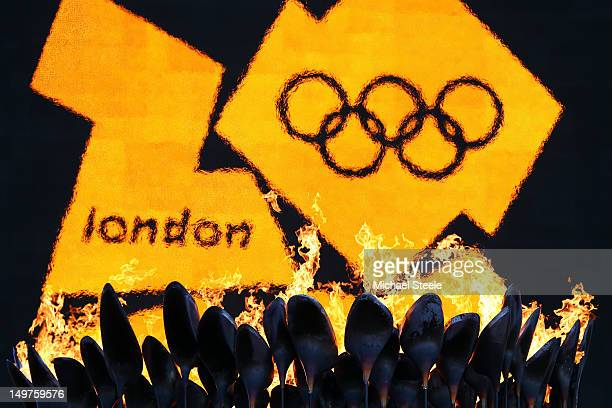 The 2012 logo is seen as the Olympic Cauldron burns on Day 7 of the London 2012 Olympic Games at Olympic Stadium on August 3 2012 in London England