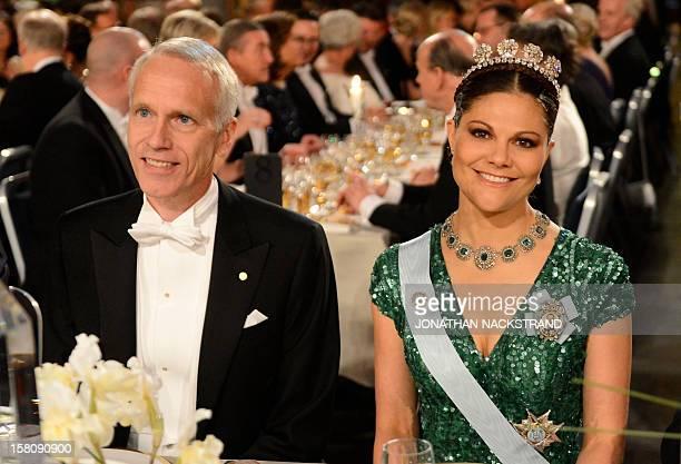 The 2012 Nobel Chemistry Prizewinner US Brian K Kobilka and Princess Victoria of Sweden attend the Nobel Banquet a traditional dinner after the Nobel...