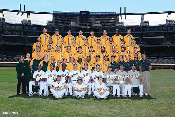 The 2012 Oakland Athletics pose for their team photo at OaklandAlameda County Coliseum on Tuesday August 21 2012 in Oakland California Pictured...