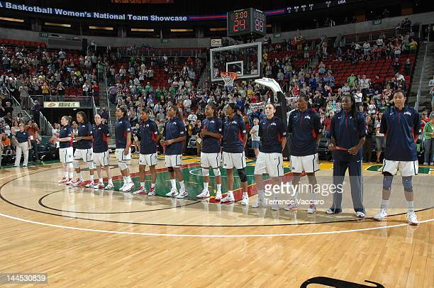 The 2012 USA Basketball Women's National Team during the national anthem before the game against the 2012 China Women's National Team during the...